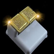 DBL PANEL MEN'S & WOMEN  20 MM YELLOW GOLD FINISH LAD DIAMOND SIMULATE EARRINGS