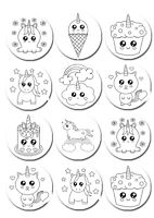 Paint Your Own PYO Colour In Unicorn Edible Cookie Cupcake Toppers