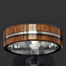 8mm Tungsten Carbide Brown Wood Design Silver Center Men's Wedding Band TR