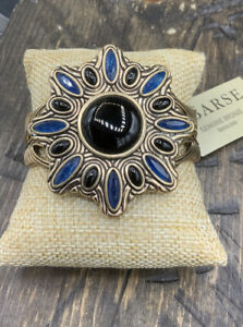 Barse Masquerade Cuff Bracelet- Onyx & Indigo Quartz- Bronze- New With Tags