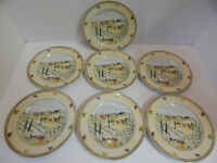 PTS International Tuscan Country Salad Plates Dishes Genuine Stoneware Set Of 7