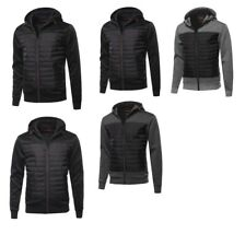 FashionOutfit Men's Reverse coil color zipper Fleece lining padded Jacket
