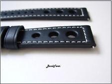 22mm Rally Black CALF 3 Big Holes Genuine Leather Watch Band Strap Hamilton
