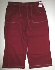 FRESH PRODUCE Medium Burgundy Topstitch Sheeting Cotton Capris NWT New M