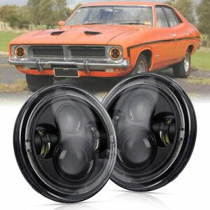 "2x FOR Ford Falcon HO XA XB XC XK XL XM GT GS 7"" Round LED Headlights Amber Halo"