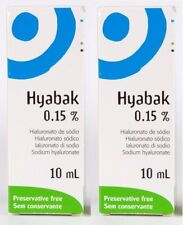 2x Hyabak 10ml Eye Drops Hypotonic Preservative Free (contact lens safe)