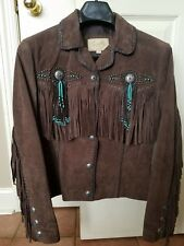 LADIES SCULLY FRINGE & BEADED BOAR SUEDE LEATHER JACKET CHOC/TURQ SIZE SM