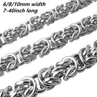 6/8/10mm Mens Chain Silver Tone Link Byzantine Stainless Steel Necklace Bracelet