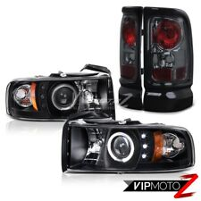 94-01 Dodge RAM L+R Halo Proiettore Nero LED Faro + Fumo Coda Luce Montaggio