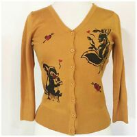Miss Ladybug Love Letter Skunk Mustard Cardigan 50s Plus Rockabilly PinUp S M L