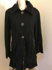 MISS SIXTY pre owned women's coat size L in black.with 2 layers of raffles.