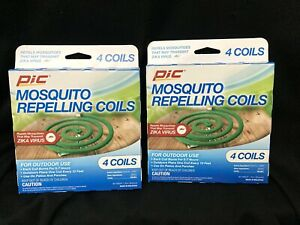Lot of 2 | PIC Mosquito Repellent Coils - 4 Coils per Box (8 Total) Outdoor Use