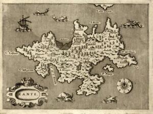 Zakynthos Greece Porcacchi 1576 Zante miniature map w/ sea monsters