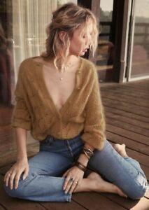 Authentic Sezane Sam Mohair Sweater Jumper Cardigan New