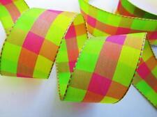 "10 yard Multi-Color Summer Plaid Woven Grosgrain 1.5"" Ribbon/Craft R7-Watermelon"