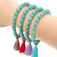 Bohemian Tassel Pendant Bracelet Turquoise Beaded Stretch Bangle Women Jewelry