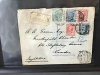 Italy 1920 Registered to London wax seal  multi stamps cover Ref R28403