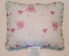 Simply Shabby Chic Tea Cup Blue Floral Rose Decorative Throw Pillow ~ 13 × 16