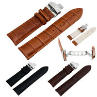 Genuine Leather Stainless Steel Butterfly Clasp Buckle  18-22mm Watch Strap Band