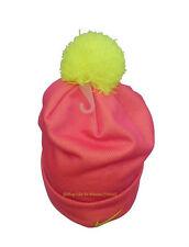 Nike Girls Swoosh Pom Pom Beanie Youth Size 7/16 Pink Pow Hat Cap Cuffed Winter