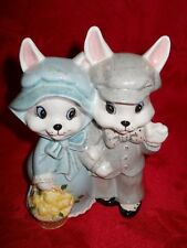 "� 6.5"" Ceramic Easter Bunny � Couple holding basket"