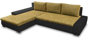 Gelb Polsterecke TEO Bettkasten und Schlaffunktion Ecksofa Couch Wohnzimmer Sofa