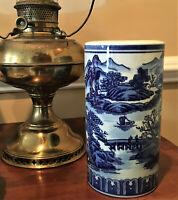 "Vtg Chinese Porcelain 8"" Brush Pot Holder Vase Landscape Makers Mark"