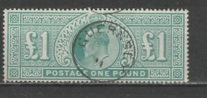 Great Britain EVII 1902 SG 266/320 £1 green used. Great Guernsey Cancel!!