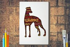 More details for whippet word art canvas a4 a3 a2 a1 dog mothers day gift personalised option