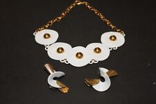 Woman's Stylish White & Gold Necklace and Earrings Enamel, No Stone, Stainless S