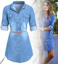 Size 12 14 16 18 NEW Womens Chambray Denim Shirt Dress Ladies Jean Dress Blue