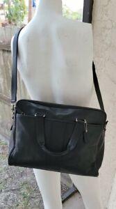 Coach Hudson F05745 Black Leather Business Briefcase Laptop Shoulder Bag Flaw