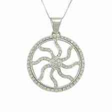 Girocollo donna in oro bianco 18 kt ciondolo sole stilizzato con diamanti