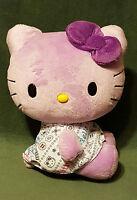 "HELLO KITTY 2010 Purple Plush Stuffed 10"" Jakks Pacific Sanrio Cat W/ Dress"
