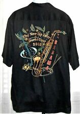 Tommy Bahama Play Now Pay Later World Tour 2003 Men's Black Button Shirt Size L
