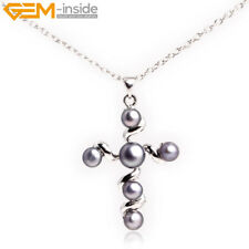 6mm Freshwater Pearl Beads Cross Jewelry Pendant for Necklace 30x42mm + Gift Box
