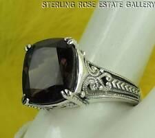12 x 10mm SMOKEY QUARTZ Sterling Silver 925 Estate COCKTAIL ENGAGEMENT RING sz 9