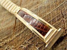 Unused Vintage Gold Filled & Lizard Watch Band 13mm Bracelet Flex-Let NOS