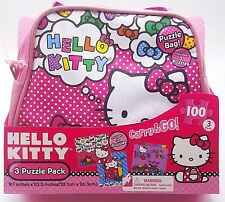 Hello Kitty Girls Puzzle 3 Pack Set with Pink Satin Carry Purse Bag New
