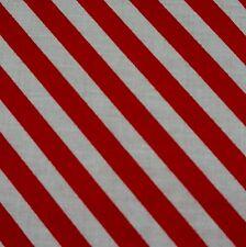 Rouge et blanc bande diagonale 8mm en polycoton tissu (par mètre)