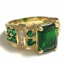 Vintage 3 Ct Green Emerald Ring Engagement Wedding Jewelry 18K Yellow Gold Plate