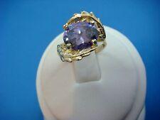 !ELEGANT 14K YELLOW GOLD PURPLE STONE LADIES RING, 3.5 GRAMS, SIZE 4.75