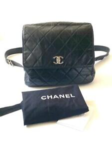 Authentic Vintage Chanel Quilted Calfskin Medium Black Backpack