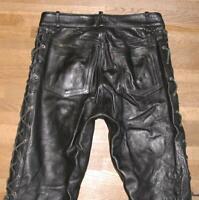 """"""" ASHY """" Herren- SCHNÜR- LEDERJEANS / Biker- Lederhose in schwarz ca. W31"""" /L34"""""""
