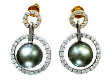 1.0ct Tahitian Pearls & Diamond Drop Earrings in 18K White Gold