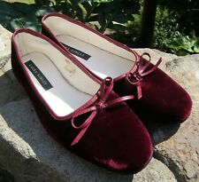 Laura Ashley Burgundy Velvet Ballerina Flat Shoes - Size 4 - Good Used Condition