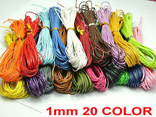 200 Meters Mixed Color Waxed Cotton Beading Cord 1mm for Bracelet 20 COLOUR