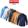 Mens Hard Yakka Long Sleeve Cotton Drill Work Shirt Tradie 2 PACK Button Y07500