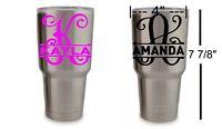 Monogram Split Vine Initial Name Decal for YETI Rambler Tumbler Cup Sticker