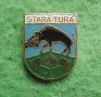 Badge pin STARA TURA town city bull cow Slovakia